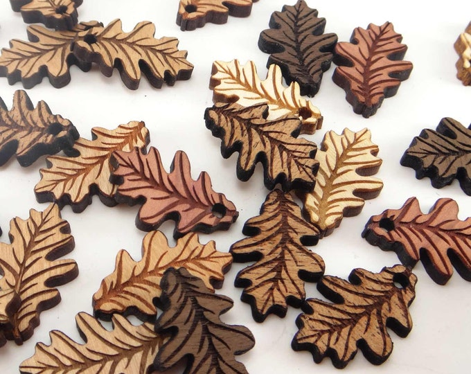 Featured listing image: Engraved Wood Oak Leaf Charms, Wood Cutout, Fall Decor