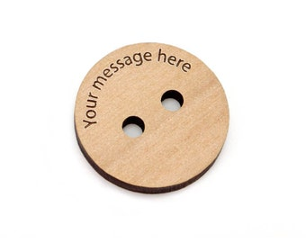 1 1/8th Inch Personalized Wood Buttons, 28mm Custom Brown Tags