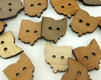 Ohio Buttons, Ohio Wood Shaped Tags