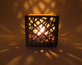 Wood Tea Light Candle Holder with Criss Cross Pattern