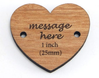 Personalized Heart Buttons, Custom Wooden Heart Charms, 1 Inch Heart Tags