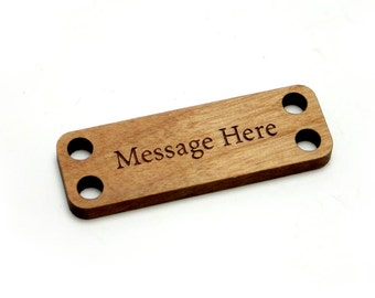 25 Personalized Wood Rectangle Tags, 1.5 x .5 Inch Custom Engraved Label