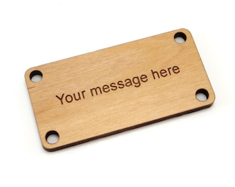 2 x 1 inch Personalized Wood Rectangle Tags, Custom Engraved Label