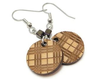 Plaid Wood Earrings, Brown Plaid Round Disc Earrings