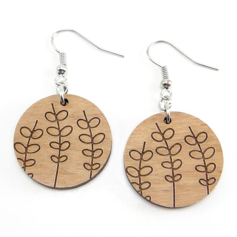 Minimalist Leaf Wood Engraved Earring Line Art Earring image 0