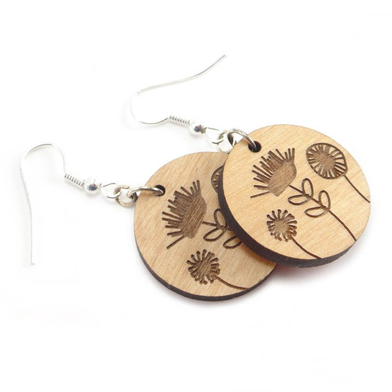 Wood Flower Earrings  Laser Cut and Engraved with Surgical image 0