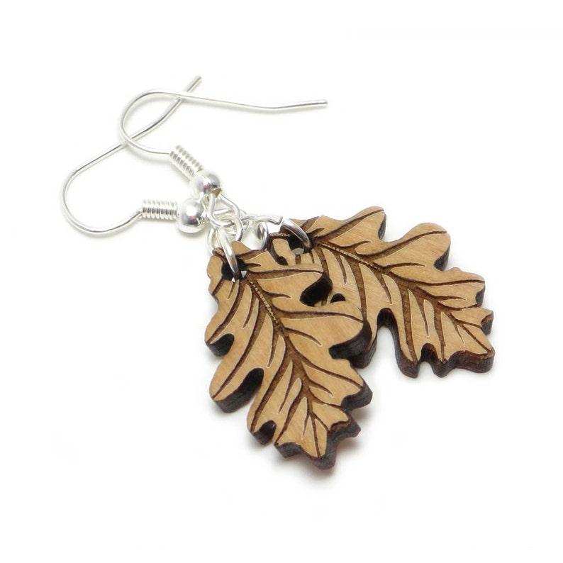 Wood Oak Leaf Engraved Earrings Autumn Leaf Earrings Fall image 0