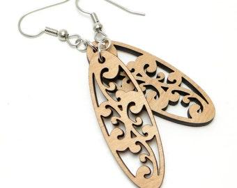 Filigree Oval Wood Earrings, Laser Cut, Lightweight Dangle Earrings