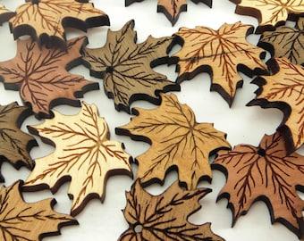 Maple Leaf Wood Charms, Wood Cutouts, Maple Tags, Fall Decor