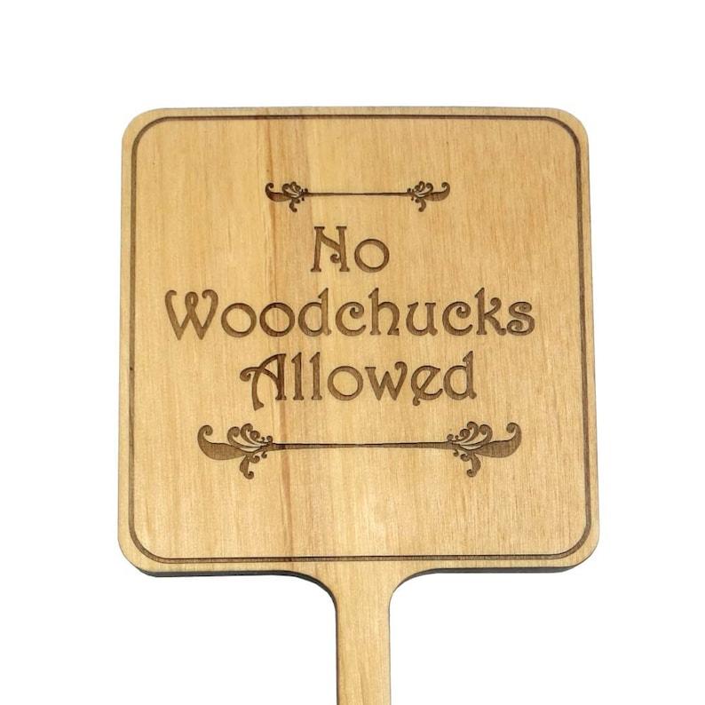 Garden Sign Garden Planter Marker No Woodchucks Allowed image 0