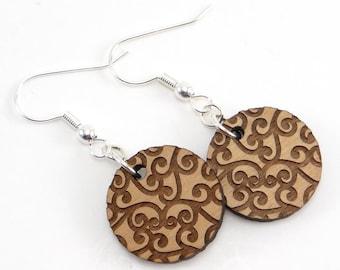Swirl Wood Disc Earring, Scroll Engraved Round Earring