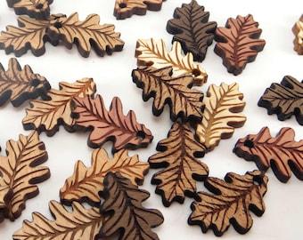 Engraved Wood Oak Leaf Charms, Wood Cutout, Fall Decor