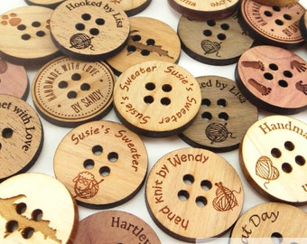 Personalized Wood Buttons 1 inch, Custom Engraved Buttons 25mm, 4 Hole Buttons