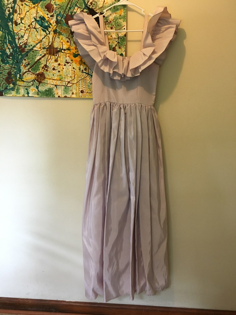 8fd6fbeb576f 60s 70s Lilac Lavender Off Shoulder Ruffle Maxi Prom Dress
