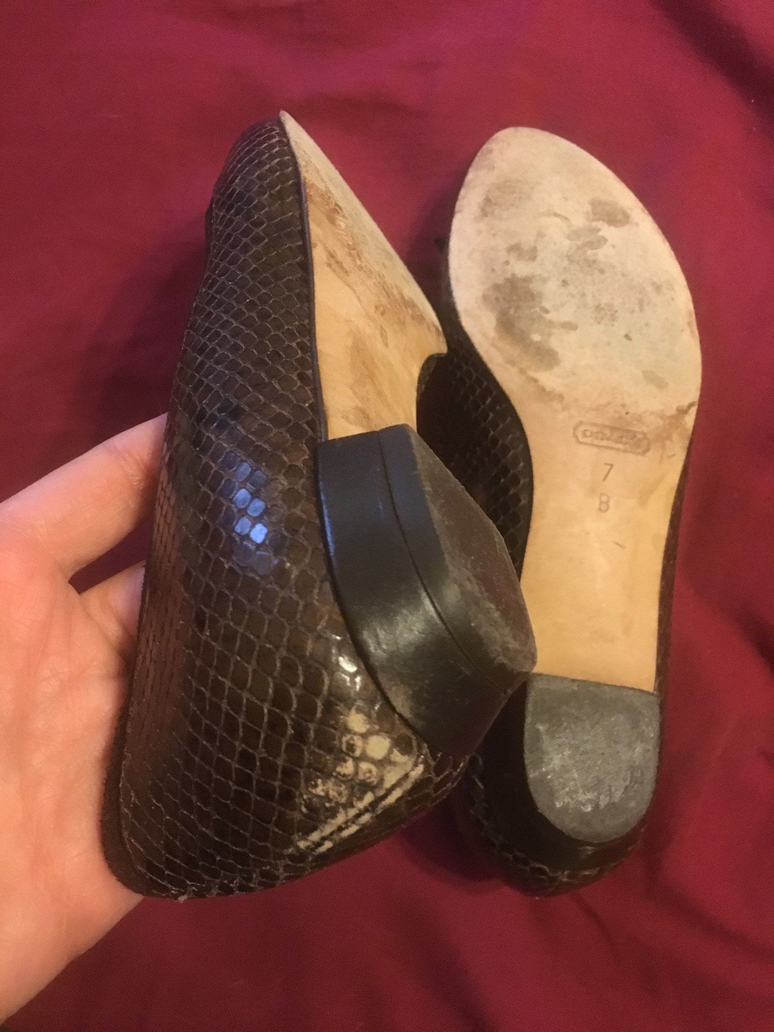 vintage coach brown leather snake skin suede bow ballet flats, womens size 7b, sz 7 made in italy. breakfast at tiffany's