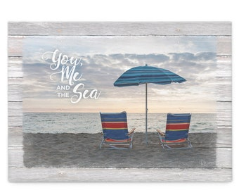 You, Me and the Sea Coastal Wall Art; Beach Chairs with Umbrella Canvas Print; Two Chairs on Beach Picture; Coastal Wall Art; Beach Wall Art