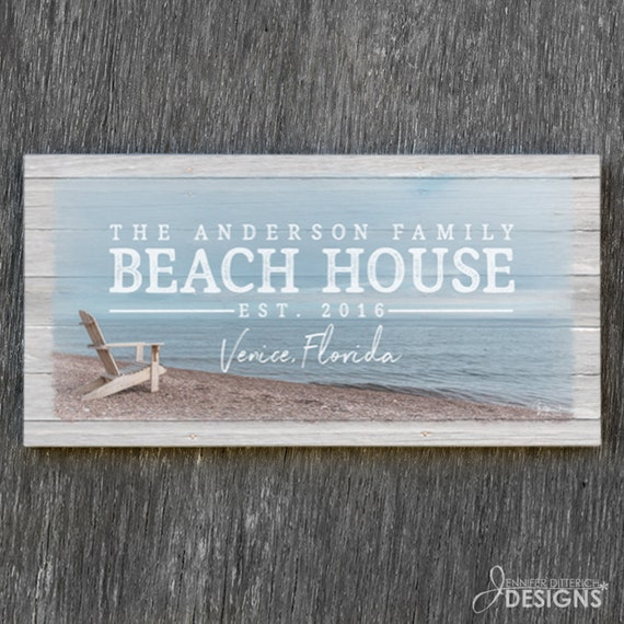 b450bc88a33 Custom Beach House Sign Personalized with Your Family Name | Etsy