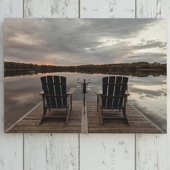 D tente limpression sur toile de lac chaises sur quai - Chaise adirondack france ...