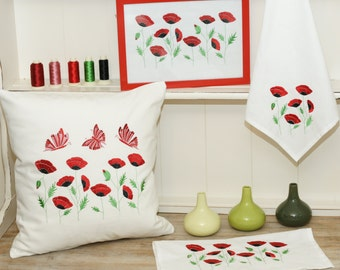 PES embroidery poppies and butterflies.Instant Download.Cushion, napkins and picture.Embroidery pattern.File PES.Embroidery machine.