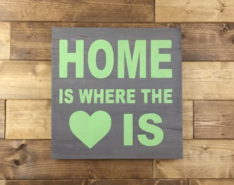 Pick Colors, Home is Where the Heart is Sign, Home sign, Farmhouse decor, Farmhouse signs, wood signs, gallery wall, rustic home decor