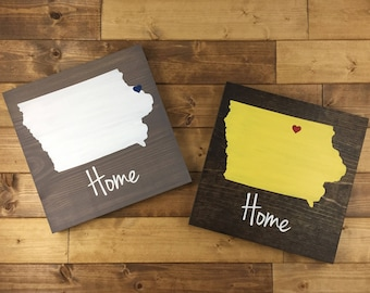 Pick Colors, Iowa Wood Sign, Iowa State Sign, Iowa sign, Iowa Home Sign, Iowa decor, Iowa art, Iowa Guest Book, Iowa plaque, Moving gift