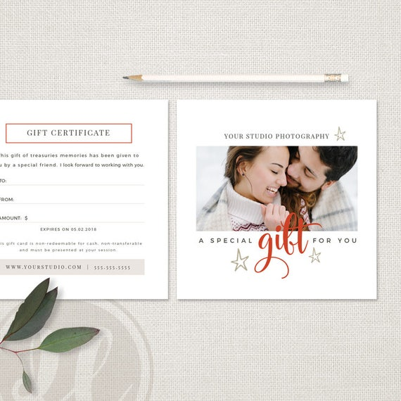 Photography Gift Certificate Template Holiday Photography Etsy