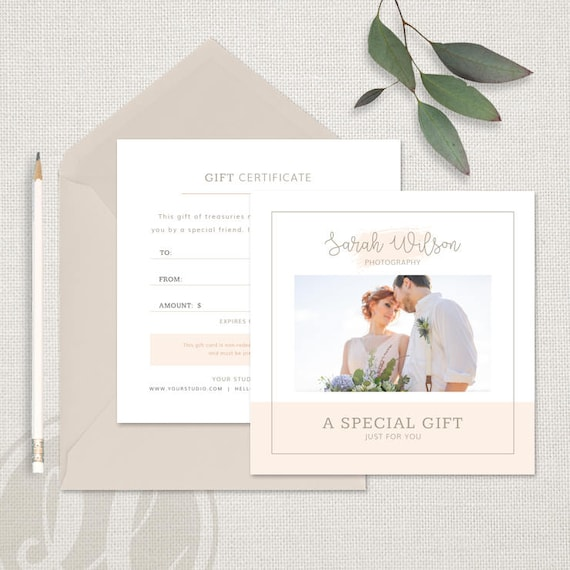 Photography Gift Certificate Template Photography Gift Etsy