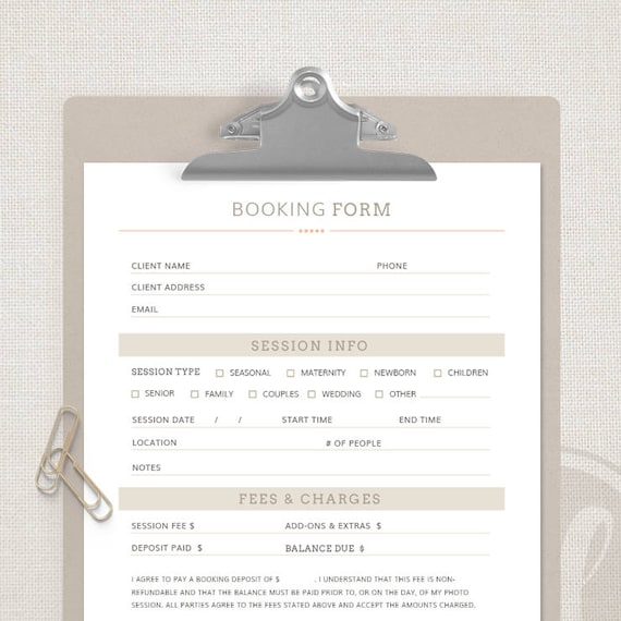 Client Booking Form Template For Photographers Photography Etsy