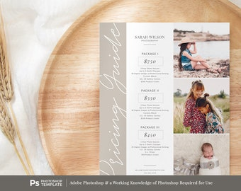 Photography Pricing Template, Price Guide List for Photographers, INSTANT DOWNLOAD, Pricing Guide, Photo Price List