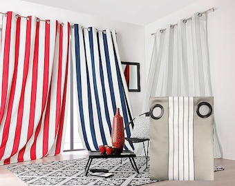 Double curtain Jacquard satin Occultant heavy, striped BEIGE Polyester 150 x 265 cm mark Linder,