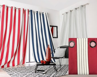 Double curtain Jacquard satin Occultant heavy, with striped red/burgundy Polyester 150 x 265 cm mark Linder