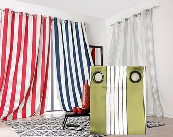 Double curtain Jacquard satin Occultant heavy, OLIVE green stripes, Polyester 150 x 265 cm mark Linder,