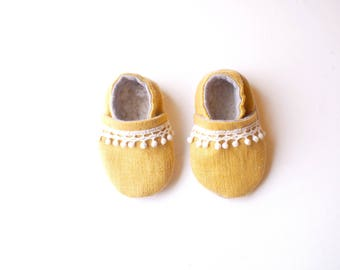 "Baby Booties- ""Meadow"" Linen Bootie"