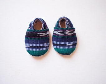 Baby Booties- Guatemalan Ikat- Green, Blue, Purple Stripes