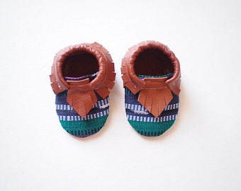 Baby Moccasins- Guatemalan Ikat (Leather)- Green, Blue, Purple Stripe