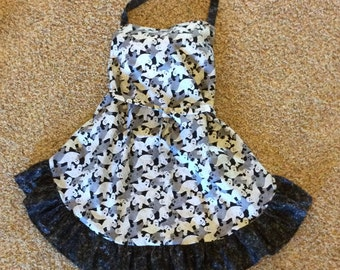 Happy Haunting!  Halloween Full Apron, Black and White Glittery Ghost Print with Ruffle