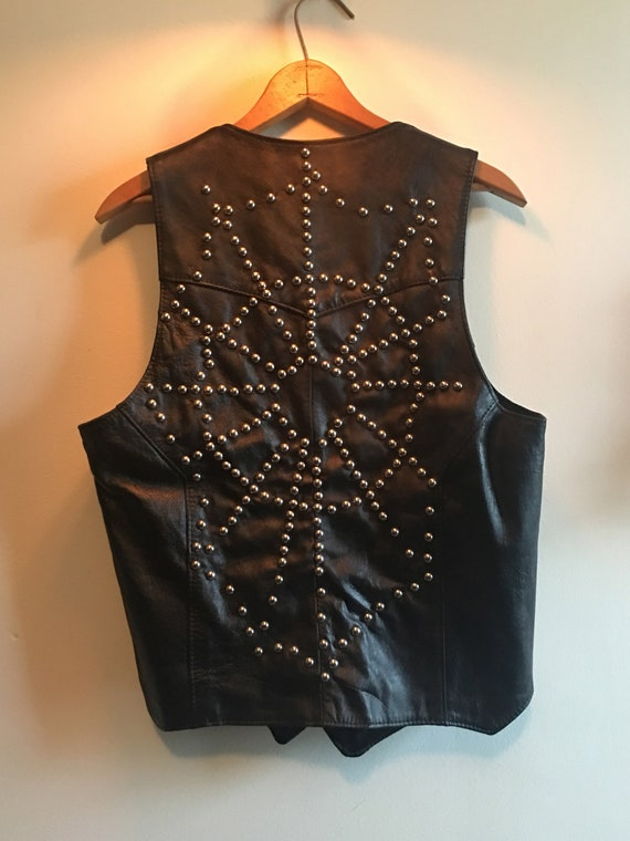 Spiderweb Studded Leather Vest ~ Medium