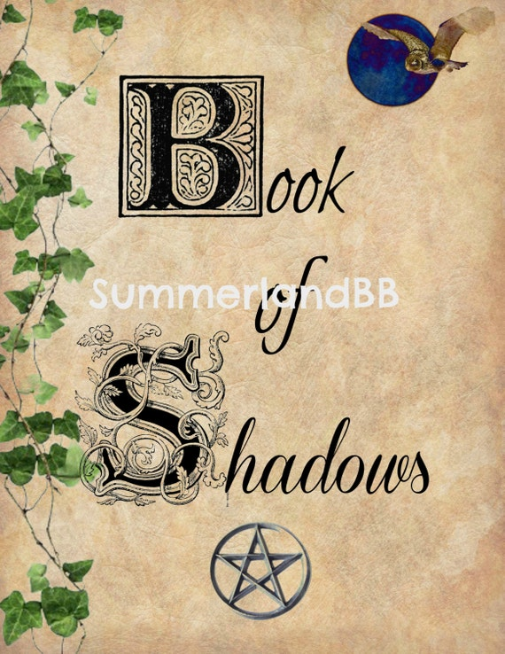 Book of Shadows Cover Page Digital Download BOS Pages ~ Wiccan ~ Witch ~  Spells ~ BOS ~ Book Cover