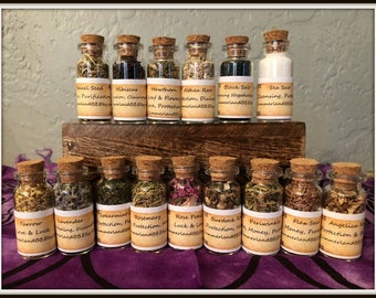 Herb Box & Bottles ~ Pentacle ~ Wiccan Herbs ~ Incense ~ Altar Bottle ~ Altar Offering ~ Spell Aid Herbs ~ Wicca~Witch ~ Altar Herb Bottles