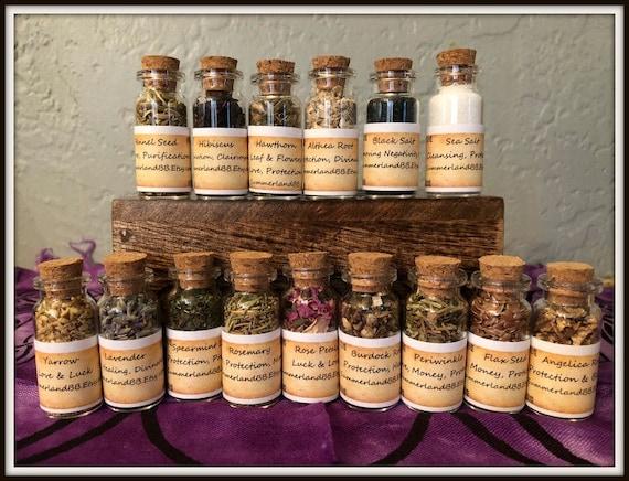 Set of 15 Herb Bottles ~ Wiccan Herbs ~ Incense ~ Altar Bottle ~ Altar  Offerings ~ Spell Aid Herbs ~ Wicca ~ Witch ~ Altar Herb Bottles