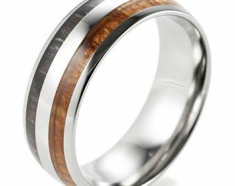 Men's 8mm Titanium Wedding Ring With Hawaiian Koa and Ebony Wood Inlay