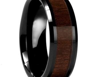 Custom Dark Wood Inlay Ring   Men's Ring