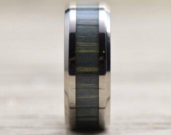 Custom Black and Gray Zebra Wood Inlay Ring   Men's Ring