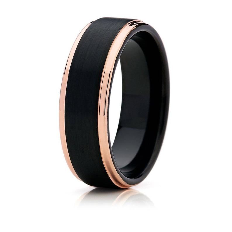 Mens Ring Tungsten Carbide Rose Gold Brushed