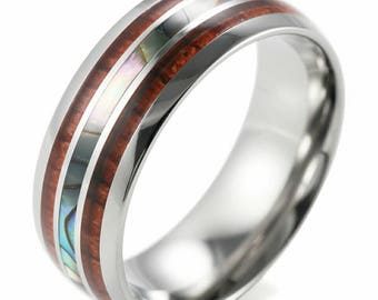Men's 8mm Titanium Wedding Ring With Double Wood & Pearl Shell Inlay