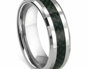 Men's Titanium Ring Wedding Band Black Carbon Fiber Inlay and Beveled Edges 8mm