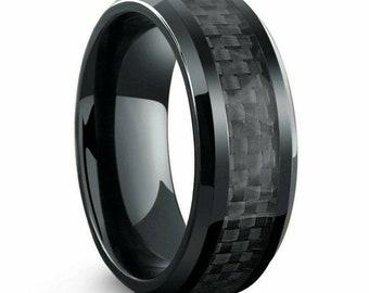 Mens Titanium Ring Wedding Band Black Plated, Black Carbon Fiber Inlay 8mm