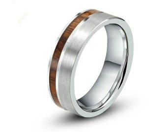 Men's ring 8mm Tungsten Carbide Koa Wood Ring Wood Inlay