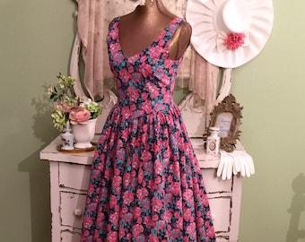 50s Style Dress Pink Cotton Dress w Full Skirt Vintage Summer Princess Dress XS-S Pink Floral Dress