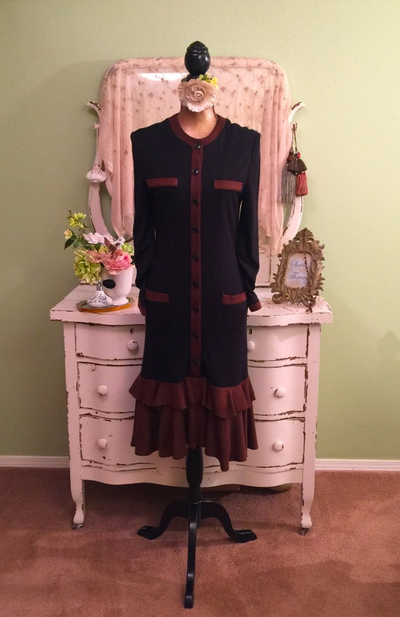 Long Wool Style Designer Dress M Day MS amp; Dress Sleeve Long Brown Stylish Flapper Black Dress Lined w5gz4C7qx